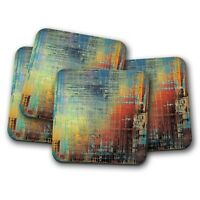 4 Set - Metallic Paint Coaster - Blue Red Ombre Art Abstract Mum Fun Gift #12420