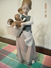 Lladro Girl with Puppies in a Basket 1311G Retired