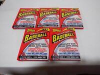 Lot of 5 1991 Topps Baseball Wax Packs Chipper Jones 112420MLCD2