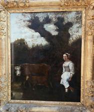 JAN SIBERECHTS 1627-1707..MAGNIFIQUE & GRANDE TOILE..PAYSANNE AVEC VACHE & VEAU