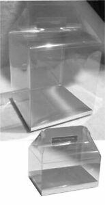 "24~ 5-3/4x3-1/2x6-3/4"" Clear Handle PVC Box w/ Silver Black Golden Card Bottom"