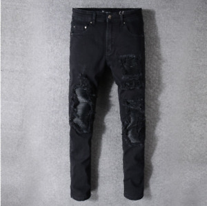 AMIRI Men's Black Patch Jeans Youth Slim Pants #520