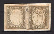 #1704 - Antichi Stati, Sardegna - 2 pezzi 10 cent su frammento