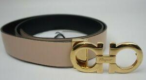 Salvatore Ferragamo Womens Gancini Reversible Leather Belt Bisque Black Gold 100