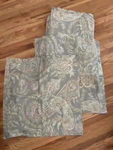 POTTERY BARN KING DUVET AND 2 EURO pillow shams sage green paisley