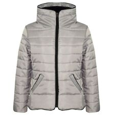 Kids Girls Silver Jacket Padded Puffer Bubble Faux Fur Collar Warm Coats 5-13Yrs