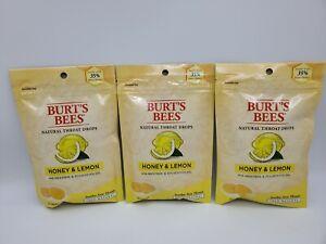 LOT OF 3 Burt's Bees Natural Throat Drops Honey & Lemon 20 Ct Each Bag EXP 08/21