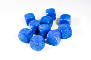 10 Pcs Blank Pearl Blue Dice / Counting Cubes 16mm D6 Square Gaming Dice DIY