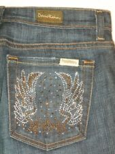David Kahn Nikki Jeans Crystal Pockets Mid Rise Bootcut Dark Blue Sz  28