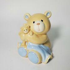 BABY GUND TEDDY BEAR BANK Bear Holding Small Baby Holding BLUE Blanket NEW BOX