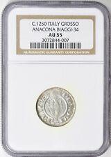 Italy c.1250 Grosso - Ancona Biagi-34 NGC AU-55