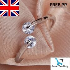925 Sterling Silver Plated TWIN CUBIC ZIRCONIA RING Thumb Wrap Ring ADJUSTABLE