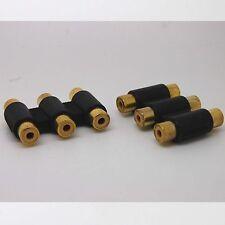 2pcs gold 3 RCA AV Audio Video Female to Female Coupler extender Adapter