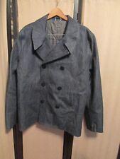 Mother Freedom Mens Double Breasted Denim Coat Peacoat  Jacket Size Large NWOT