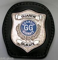 Porta Placca da Cintura Guardia Giurata Stemma Distintivo color argento