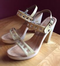 THEORY Strap Platform Sandals, Nude / Beige Patent, Size 38