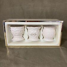 Classic Lenox Beaded Tea Light Votives Set of 3 Porcelain + Candles Original Box