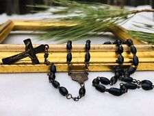 Vintage Antique Black Glass Beads Mourning Rosary