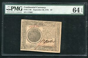 CC-80 SEPTEMBER 26, 1778 $7 SEVEN DOLLARS CONTINENTAL CURRENCY PMG UNC-64EPQ