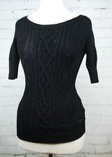 GUESS Black Cableknit Short 3/4 Sleeve Sweater - 100% Cotton - Juniors Medium