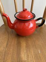 Vintage Enamel 1 1/2 Pint Teapot Red Polish enamelware - retro kitchenalia