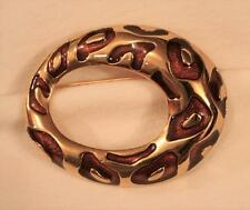 Unique Openwork Sloped Oval Amber Splotched Abstract Goldtone Brooch Pin