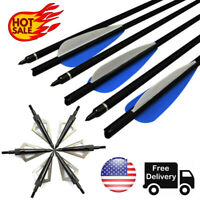 Hunting Crossbow Bolts Carbon Arrows + 12pcs Broadheads Archery Target Outdoor