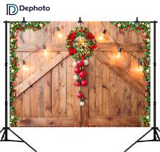 Christmas Backdrops Decor on Rustic Barn Door Wreath Photography Backgrounds