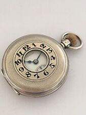 Antique Half Hunter Engine Turned Case Silver Pocket Watch By West End Watch Co