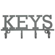 Vintage Key Holder Storage Hooks Wall Mounted Grey Metal Rack Hanger Shabby Chic