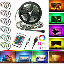 USB/BATTERY 5050 RGB LED STRIP LIGHTS COLOUR CHANGING TAPE UNDER CABINET KITCHEN