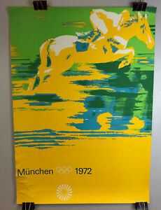 1972 MUNICH OLYMPICS EQUESTRIAN SPORTS POSTER OTL AICHER DESIGN original