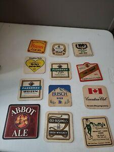 Vintage beer coasters LOT OF 12 DIFFERENT Brands & Kinds 70s 80s 90s  (lot 1)