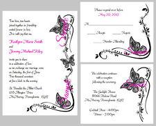 100 Personalized Custom Black Butterfly Bridal Wedding Invitations Set Printed