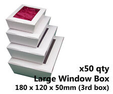 x50 LARGE WHITE WINDOW LID BOXES - for macarons, cookies, food, gift packaging