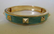 Gold Tone Rock Stud Round Bracelet Teal Mint & Spikes Designer Inspired Bangle