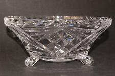 Vintage Cut Glass Bowl, 3-footed Heavy Glass Centerpiece Bowl