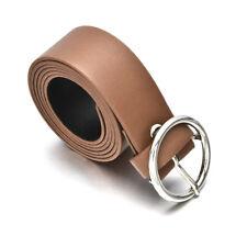 New Women Waist Belt Simple PU Leather Metal Round Buckle Ladies Waistband Strap
