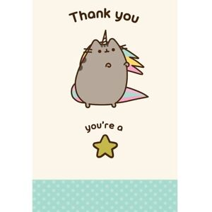 Pusheen Cat Thank you you're a star Blank Greeting Card and Kraft Envelope