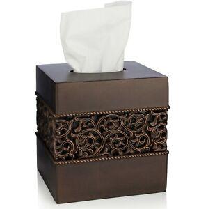 Essentra Home Bronze Square Tissue Box Cover - Bronze Collection