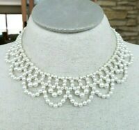 Vtg Fx Pearl Bead Beaded Bib Choker Necklace Victorian Revival Gold Tone