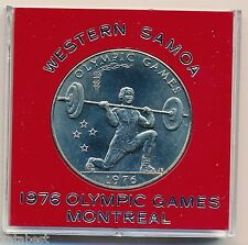 1976 Samoa 1 Tala Coin in Case KM#22 Montreal Olympic Games - Weightlifting
