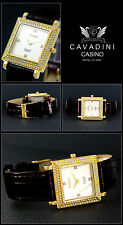 "Square Cavadini Women's Watch "" Casino, Pearl Face, Leather Strap Black"