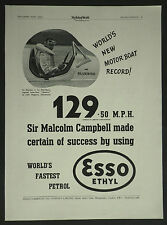 Malcolm Campbell Bluebird World Record Esso Ethyl Petrol 1937 Ad Advertisement