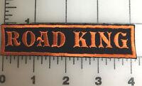 "Custom  Biker Vest Patch ROAD KING  4""X 1"" ORANGE"
