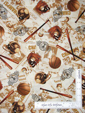 Sport Baseball Basket Foot Ball Cotton Fabric Timeless Treasures C4090 By Yard