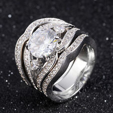 Size 6,7,8,9,10 Woman's 3Pcs 18K Gold Filled White Topaz Engagement Rings Sets