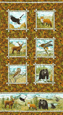 Mountain Springs Animals Bear Fox Eagle Northcott Quilt Fabric Panel 25 x 44