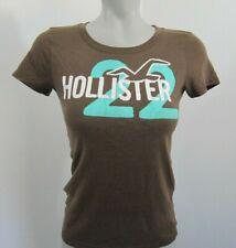 "Hollister Brown Crew Neck ""22"" T Shirt Top Size Jrs M"
