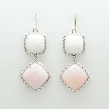 Barse Jewelry Silver Plate, Mother of Pearl and Pink Opal Drop Earrings